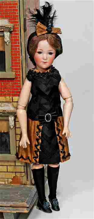 GERMAN BISQUE LADY DOLL, 401, WITH FLAPPER BODY BY