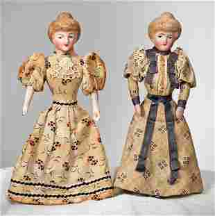"""TWO GERMAN BISQUE DOLLHOUSE LADIES 5"""" Each is bisque"""