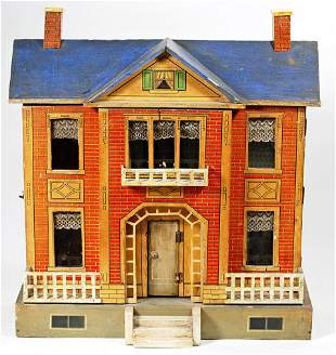 GOTTSCHALK WOODEN PAPER LITHOGRAPHED TWOSTORY DOLLHOUSE