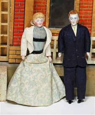 PAIR, ALLORIGINAL GERMAN BISQUE DOLLHOUSE LADY &