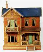 BLUEROOF GERMAN WOODEN AND PAPERLITHOGRAPHED DOLLHOUSE