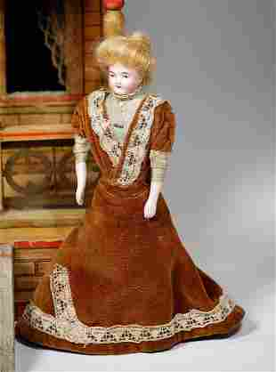 GERMAN BISQUE DOLLHOUSE LADY WITH GIBSON GIRL HAIRSTYLE