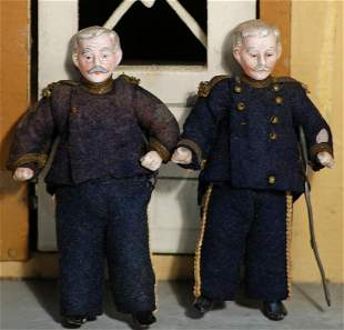 TWO ALLBISQUE MINIATURE DOLLHOUSE PORTRAITS OF ADMIRAL
