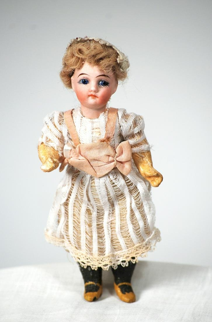 "MINIATURE GERMAN BISQUE DOLL  5½""  Marks: 13a"