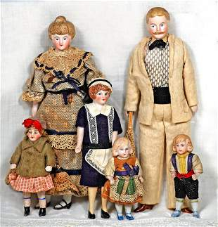 """GERMAN BISQUE FAMILY OF SIX DOLLHOUSE DOLLS 3"""" to 7"""""""
