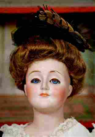 """GERMAN BISQUE """"GIBSON GIRL"""" LADY DOLL BY KESTNER"""