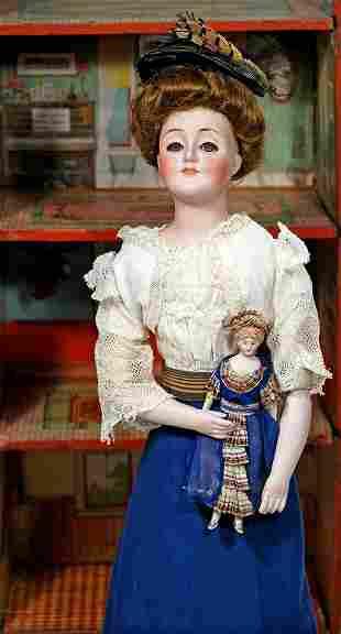"GERMAN BISQUE DOLLHOUSE LADY IN ORIGINAL COSTUME625"""