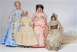 FOUR SIMON & HALBIG BISQUE LADY DOLLS Marks: S H 1160