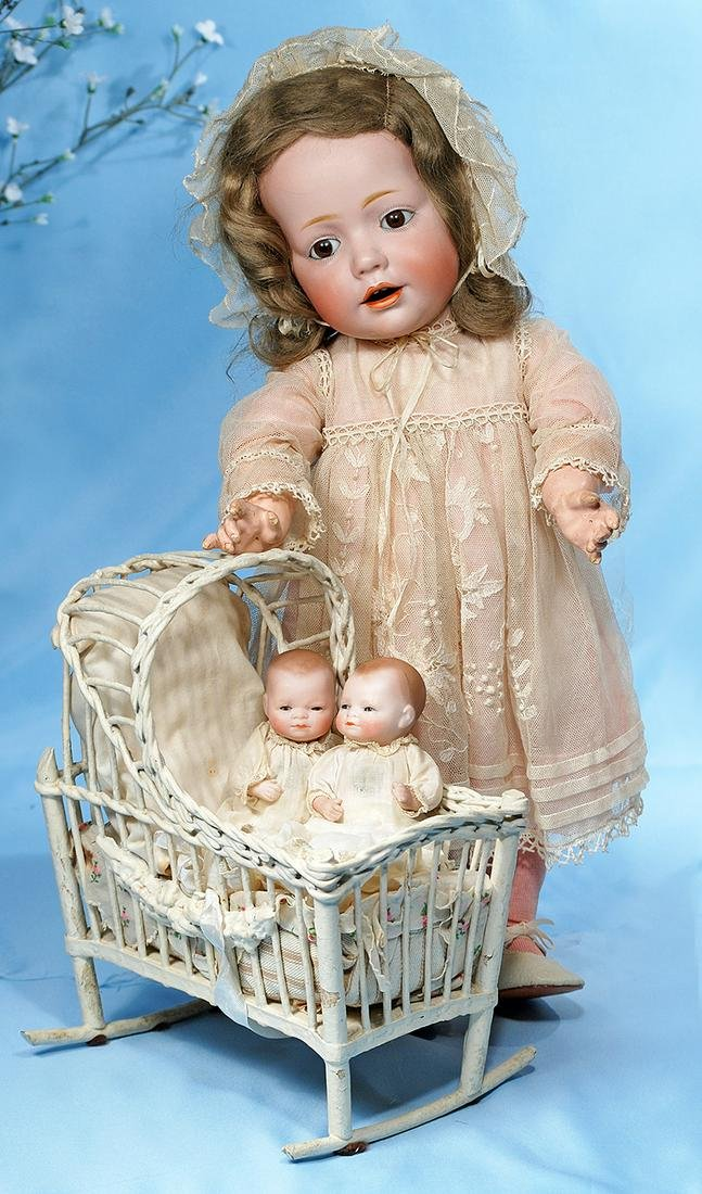PAIR OF ALL-BISQUE BYE-LO BABIES IN ORIGINAL GOWNS WITH
