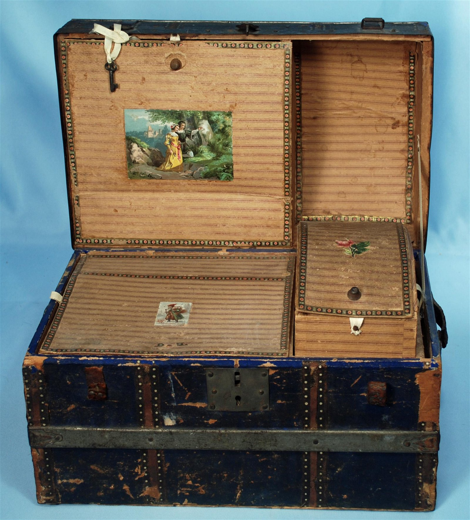 """ANTIQUE WOODEN DOLL TRUNK IN ORIGINAL CONDITION.  14"""""""