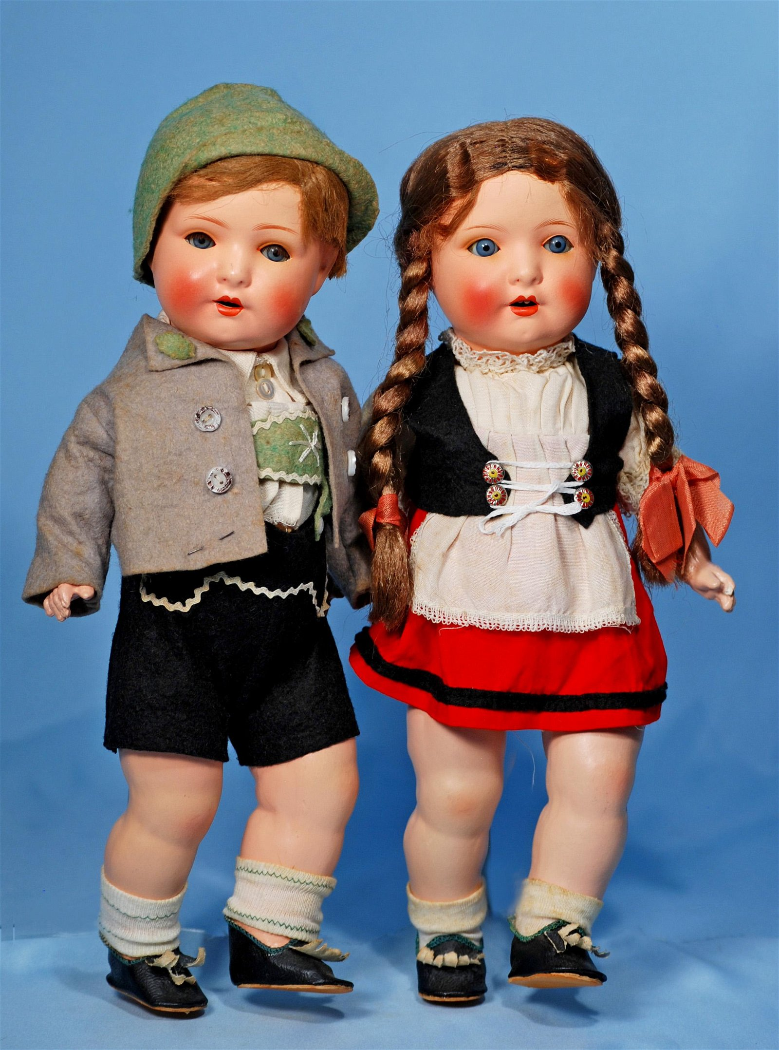 PAIR, ALL-ORIGINAL GERMAN PAINTED BISQUE TODDLERS BY
