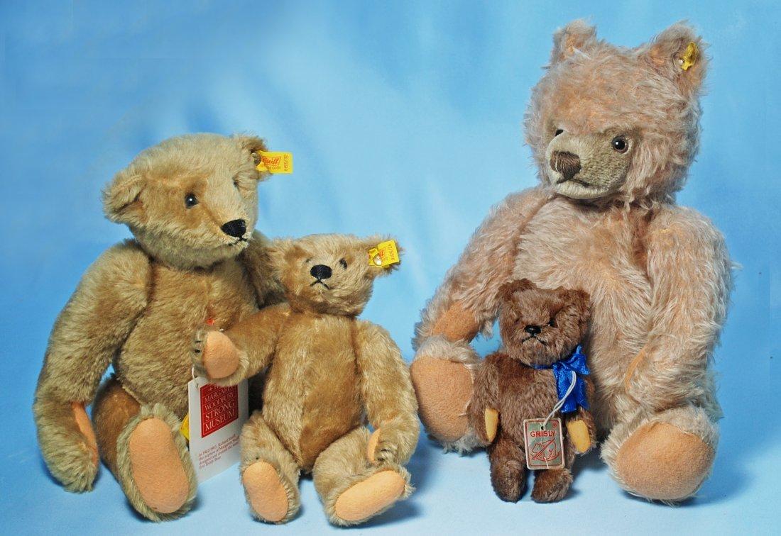 THREE STEIFF TEDDY BEARS & TINY GRISLY BEAR.
