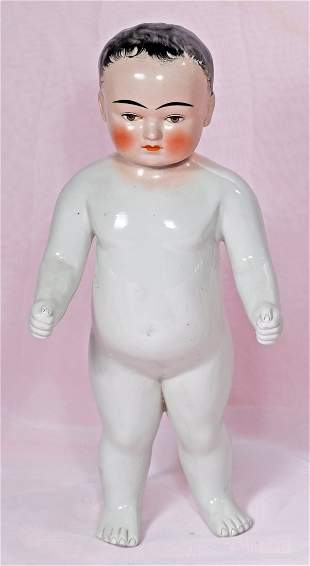 """LARGE GERMAN PORCELAIN DOLL KNOWN AS """"FROZEN CHARLIE"""""""