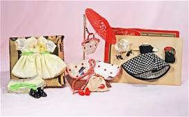 THREE SETS OF MIXED CLOTHES FOR SMALL DOLLS