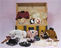SMALL ANTIQUE DOLL TRUNK WITH CLOTHING AND ACCESSORIES