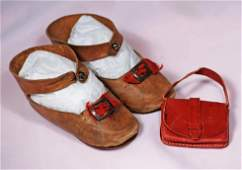 PAIR OF ANTIQUE DOLL SHOES AND PURSE