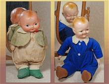 TWO EARLY COMPOSITION CHARACTER DOLLS. (1)COMPOSITION