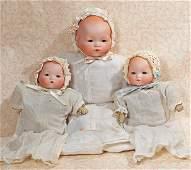 THREE GERMAN BISQUE BABIES BY MARSEILLE
