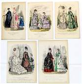 ELEVEN FRENCH FASHION PLATES, 1800s
