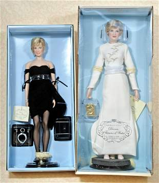 TWO PRINCESS DIANA DOLLS & EIGHT BOXED COSTUMES BY