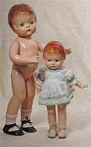 TWO COMPOSITION PATSY DOLLS BY EFFANBEE