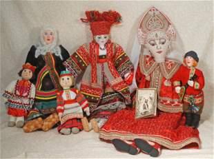 GROUP OF SIX RUSSIAN CLOTH DOLLS.