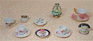 ASSORTED MINIATURE PORCELAIN DISHES AND NOVELTIES.