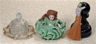 BISQUE DOLL, HALF DOLL, & BUTTER DISH.