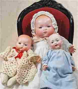THREE GERMAN BISQUE BABIES.