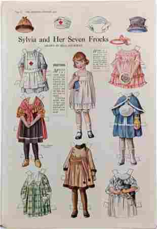 FOUR UNCUT MAGAZINE PAGES WITH PAPER DOLLS, EARLY 1900s