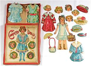 """TWO SETS OF """"CHARACTER DOLLS"""" WITH INTERCHANGEABLE"""