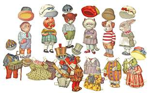 """PAPER DOLLS SET """"TEDDY BEAR AND HIS FRIENDS"""" c1921."""