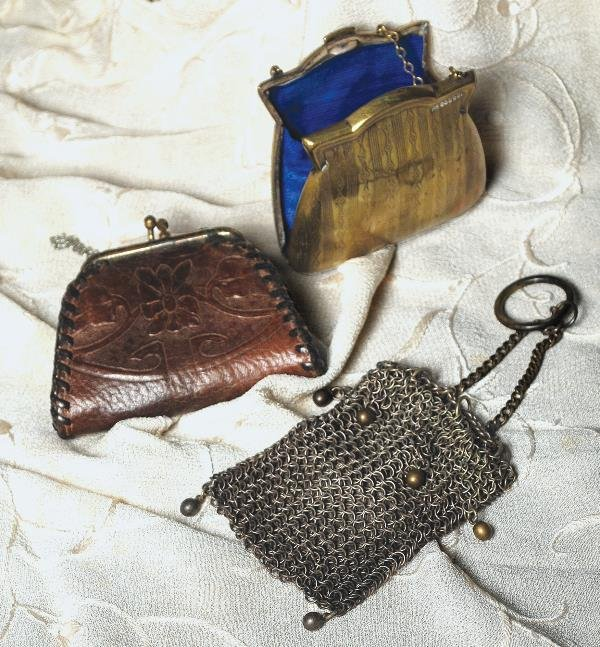 "8: THREE ANTIQUE DOLL PURSES. Includes: 2 ¼"" x 3"" br"