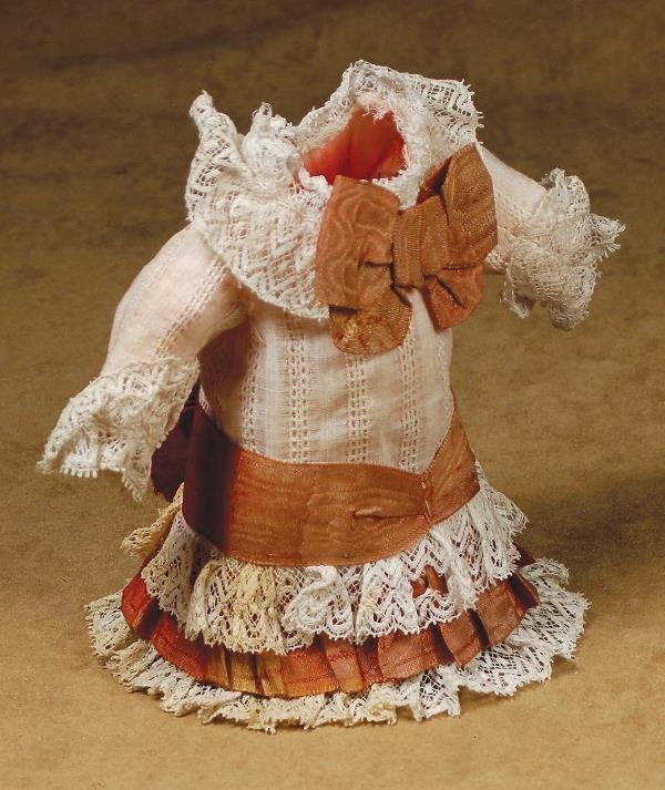 "12: ANTIQUE FRENCH DOLL DRESS FOR SMALL BEBE. 5 ½"" H"
