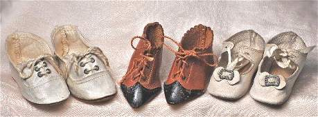 66: THREE PAIR OF ANTIQUE DOLL SHOES. Includes: 2 ¾