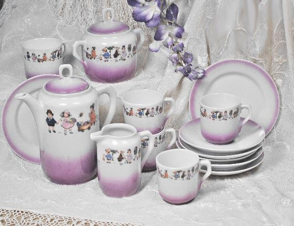 75: GERMAN SILESIAN FACTORY PORCELAIN TEA SET. Marks