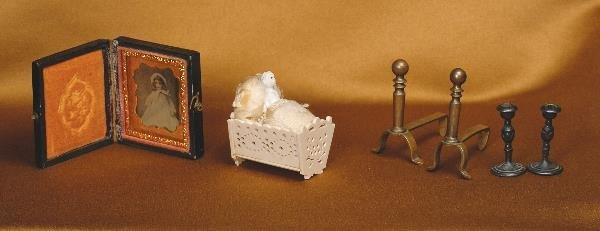 119: FRENCH MINIATURE CARVED BONE CRADLE. Marks: Mad