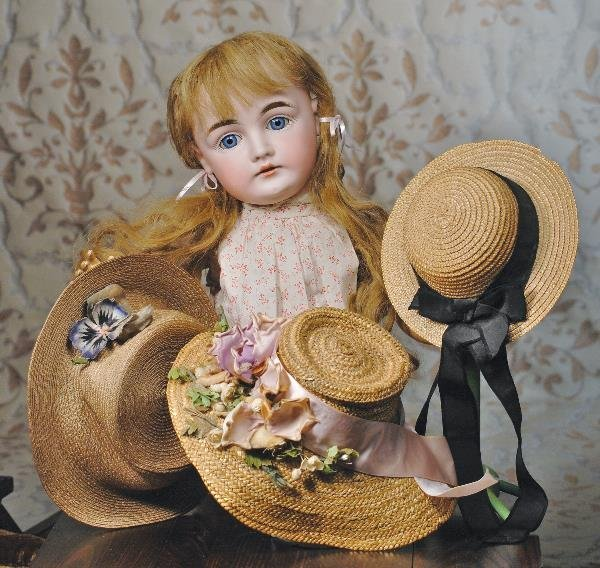 """133: THREE ANTIQUE STRAW BONNETS. 4 ½"""", 4"""" and 3 ¾"""""""