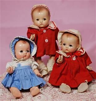 THREE EFFANBEE PATSY BABYETTE DOLLS