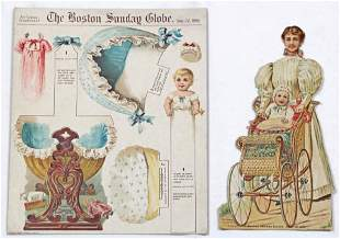 VICTORIAN PAPER DOLL WITH BABIES, 1895 AND DIE CUT