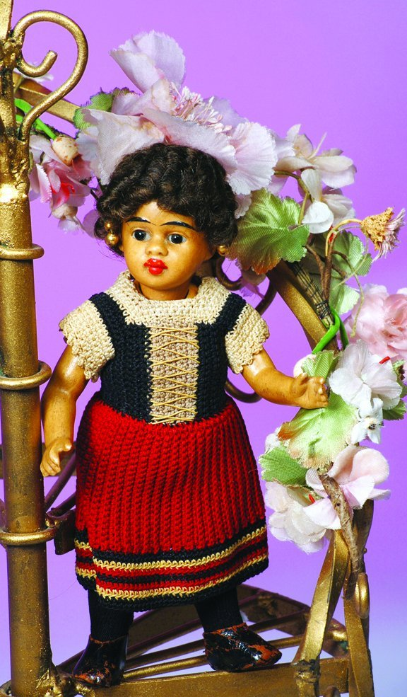 5: GERMAN BROWN ALL-BISQUE CHARACTER DOLL BY GEBRUDER K