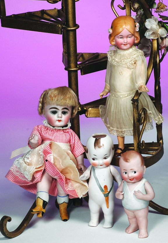 "8: TWO GERMAN ALL-BISQUE CHARACTER DOLLS.  (1) 5"" doll"