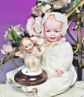 GERMAN PORCELAIN NOVELTY PINCUSHION DOLL.  Marks: