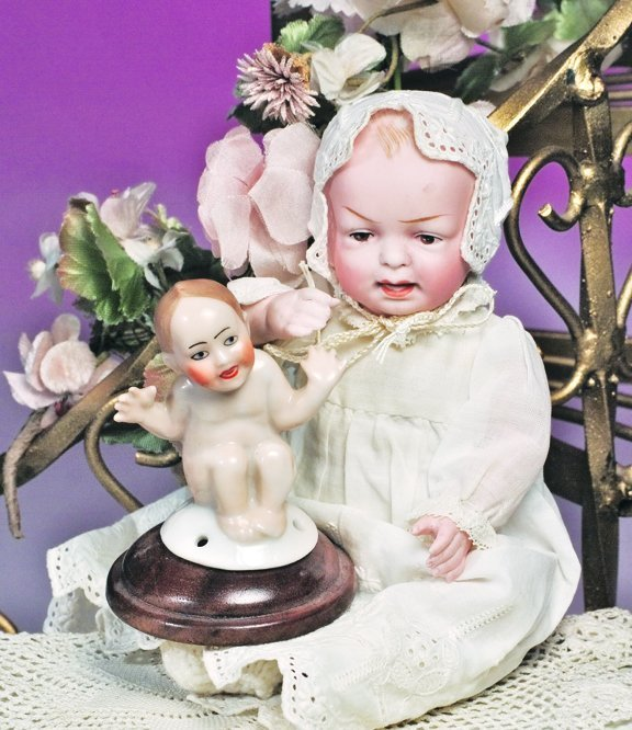22: GERMAN ALL-BISQUE CHARACTER BABY BY HERTEL & SCHWAB