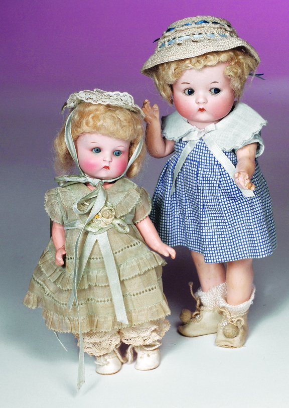 """67: ALL-ORIGINAL """"JUST ME"""" PAINTED BISQUE DOLL.  Marks:"""