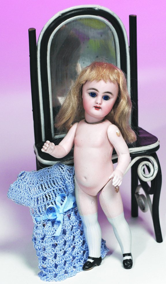 69: SIMON & HALBIG  ALL-BISQUE DOLL WITH LONG BLUE STOC