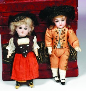 TWO TINY ALL-ORIGINAL GERMAN BISQUE DOLLS.  Marks: