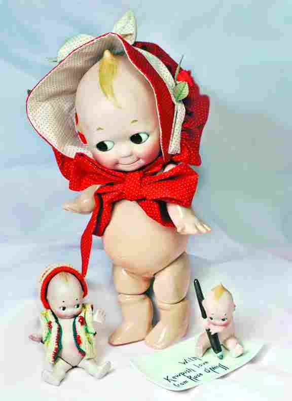 """GERMAN BISQUE KEWPIE WITH PEN AND TRAY """"WITH KEWPI"""