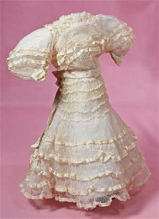FINE ANTIQUE WHITE DOTTED SWISS LADY DRESS.