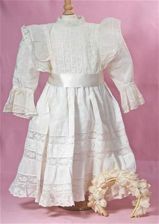 ANTIQUE DRESS AND FLORAL GARLAND FOR LARGE DOLL.
